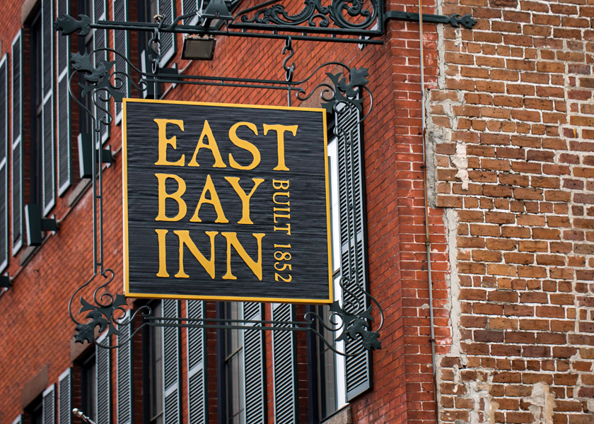 East Bay Inn Built 1852 Sign outside of the Inn